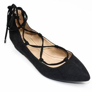 Curfew Tatiana Ballet Lace Up Flats Black
